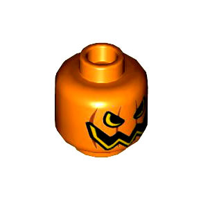 레고 피규어 머리 부품 오렌지색 Orange Minifig, Head Pumpkin Jack O' Lantern Open Semicircular Eyes with Vertical Lines on Back Pattern - Stud Recessed 6143944[레고정품 브릭스타]