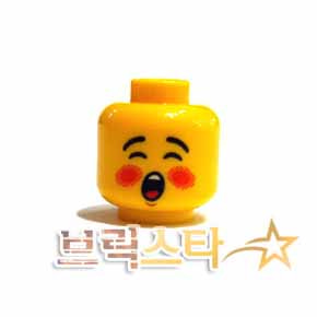 레고 피규어 머리 부품 Yellow Minifigure, Head Rosy Cheeks, Open Mouth, Black Eyebrows Pattern (Caroler) - Hollow Stud 6115836[레고정품 브릭스타]