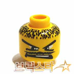 레고 피규어 머리 부품 Yellow Minifigure, Head Moustache Thin, V Brow Eyes Pattern - Blocked Open Stud[레고정품 브릭스타]