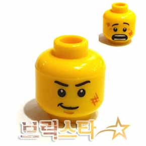 레고 피규어 머리 부품 Yellow Minifigure, Head Dual Sided Black Eyebrows, White Pupils, Scratches, Determined / Scared Pattern - Hollow Stud 4655810[레고정품 브릭스타]