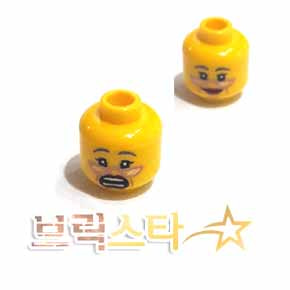 레고 피규어 머리 부품 양면 Yellow Minifigure, Head Dual Sided Female Copper Glasses, Gray Eyebrows, Red Lips, Cheek Lines, Smile / Scared Pattern - Hollow Stud[레고정품 브릭스타]