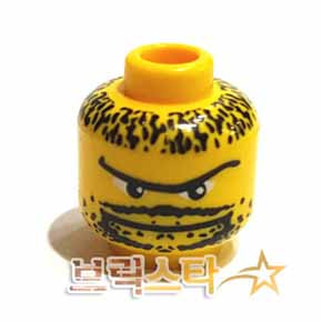 레고 피규어 머리 부품 Yellow Minifigure, Head Moustache Thin, Goatee, Long Eyebrow, Stubble Pattern - Blocked Open Stud[레고정품 브릭스타]
