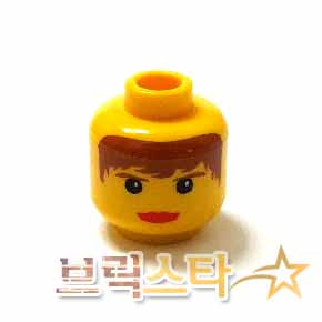 레고 피규어 머리 부품 여성 Yellow Minifigure, Head Female with Red Lips, Brown Hair and Eyebrows Pattern - Blocked Open Stud[레고정품 브릭스타]
