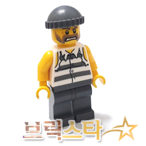 레고 시티 피규어 죄수 Police - Jail Prisoner Shirt with Prison Stripes and Torn out Sleeves, Dark Bluish Gray Legs, Dark Bluish Gray Knit Cap[레고정품 브릭스타]
