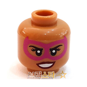 레고 피규어 머리 부품 Medium Dark Flesh Minifigure, Head Dual Sided Female Magenta Eye Mask, Dark Red Lips, Grin with Teeth / Neutral Pattern - Hollow Stud[레고정품 브릭스타]