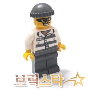 레고 시티 피규어 죄수 Police - Jail Prisoner 86753 Prison Stripes, Dark Bluish Gray Knit Cap, Mask [레고정품 브릭스타]