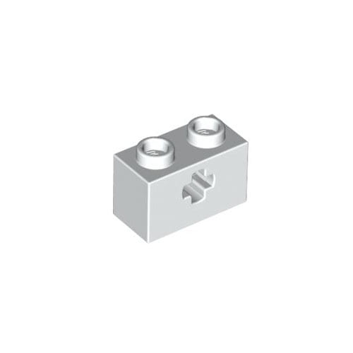 레고 부품 테크닉 흰색 White Technic, Brick 1 x 2 with Axle Hole 6178921