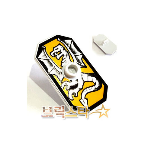 레고 부품 방패 직사각형 실버 드래곤 Very Light Bluish Gray Minifigure, Shield Rectangular with Stud, Silver Dragon on Bright Light Orange Background Pattern
