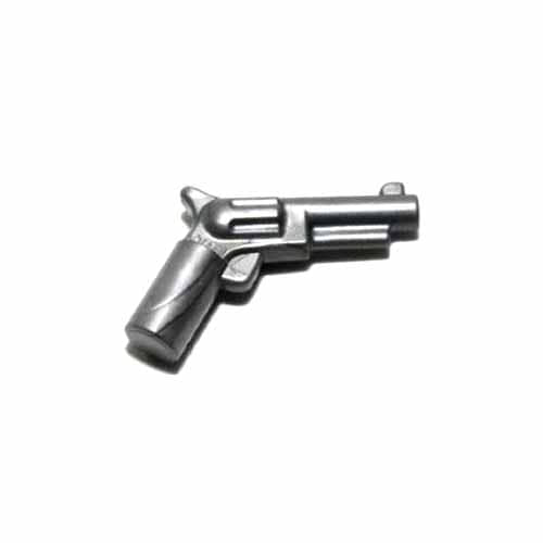 레고 부품 무기 총 플랫 실버 Flat Silver Minifigure, Weapon Gun, Pistol Revolver - Small Barrel 6034689