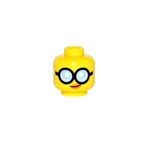 레고 부품 피규어 머리 여성 얼굴 Yellow Minifigure, Head Female Glasses Round with Bright Light Blue Lenses and Black Frames, Orange Lips with Slight Crooked Smile Pattern - Hollow Stud