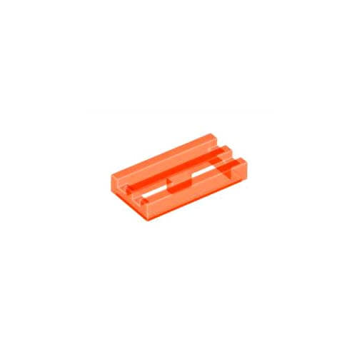 레고 부품 변형 타일 투명 네온 오렌지 Trans-Neon Orange Tile, Modified 1 x 2 Grille with Bottom Groove / Lip 6124829