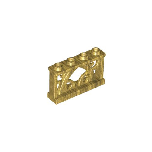 레고 부품 울타리 진주빛 골드 Pearl Gold Fence 1 x 4 x 2 Ornamental with 4 Studs 6097234