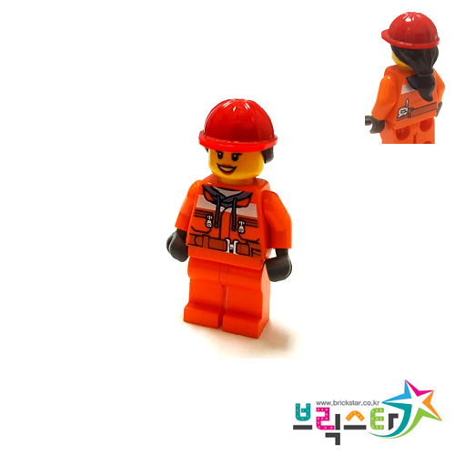 레고 피규어 시티 여성 건설 노동자 Construction Worker - Chest Pocket Zippers, Belt over Dark Gray Hoodie, Red Construction Helmet with Long Hair, Black Eyebrows