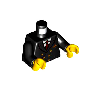 레고 부품 피규어 상체 토르소 파일럿 자켓 검정색 Black Torso Airplane Pilot, Suit Double Breasted, Red Tie, Gold Buttons and Logo Pin Pattern / Black Arms / Yellow Hands 6032165