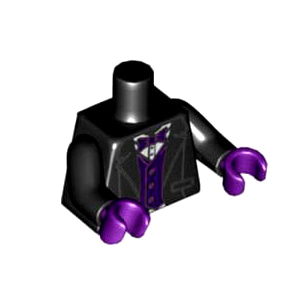 레고 부품 피규어 상체 토르소 턱시도 Black Torso Tuxedo Jacket, White Shirt, Dark Purple Bow Tie and Vest Pattern / Black Arms / Dark Purple Hands