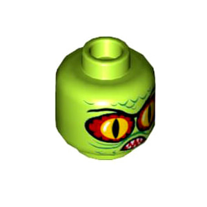 레고 부품 피규어 머리 괴물 라임색 Lime Minifigure, Head Alien with Swamp Creature with Red and Yellow Eyes, Pointed Teeth and Scales Pattern - Hollow Stud