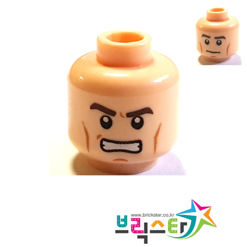 레고 부품 피규어 머리 살색 양면 얼굴 Light Flesh Minifigure, Head Dual Sided PotC Philip Thick Brown Eyebrows and Cheek Lines, Determined / Angry Pattern 4634074