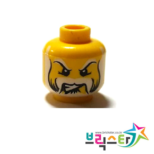 레고 부품 피규어 머리 흰색 수염 얼굴 Yellow Minifigure, Head Beard Black & White with Sideburns and Eyebrows, Teeth, White Pupils Pattern - Blocked Open Stud