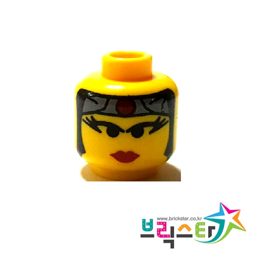 레고 부품 피규어 머리 올드 닌자 공주 Yellow Minifigure, Head Female with Red Lips, Eyelashes, Gray Headband with Red Circle Pattern
