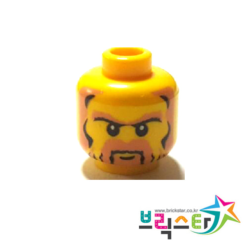 레고 부품 피규어 머리 캐슬 왕 수염 얼굴 Yellow Minifigure, Head Beard Black and Pale Brown with Sideburns and Unibrow, White Pupils Pattern
