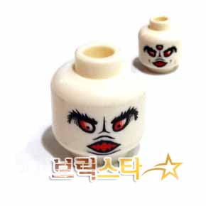 레고 피규어 머리 부품 White Minifigure, Head Dual Sided Alien Black Eyebrows, Open Mouth and Two Red Eyes / Three Red Eyes Pattern - Blocked Open Stud[레고정품 브릭스타]