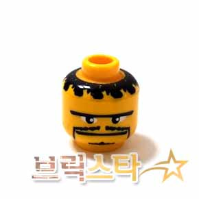 레고 피규어 머리 부품 Yellow Minifigure, Head Moustache Thin, Small Goatee, Straight Unibrow Pattern - Blocked Open Stud[레고정품 브릭스타]