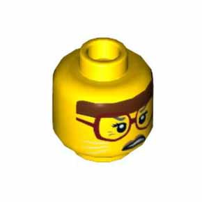 레고 피규어 머리 부품  Yellow Minifigure, Head Female, Reddish Brown Headband, Dark Red Glasses, White Cat Whiskers, Scowling Pattern - Hollow Stud[레고정품 브릭스타]