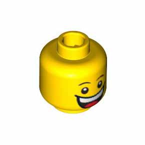 레고 피규어 머리 부품 Yellow Minifigure, Head Dual Sided Huge Grin, White Pupils, Eyebrows / Sad with Tear, Convex Eyebrows Pattern - Blocked Open Stud 4549620[레고정품 브릭스타]