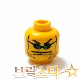레고 피규어 머리 부품 Yellow Minifigure, Head Glasses Small with Green Eyes, Stubble, Thin Wide Moustache over Mouth Line Pattern - Blocked Open Stud[레고정품 브릭스타]