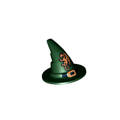 레고 부품 마법사 모자 다크 그린 Dark Green Minifigure, Headgear Hat, Wizard / Witch with Black Buckle and Gold Dragon Pattern 4587617