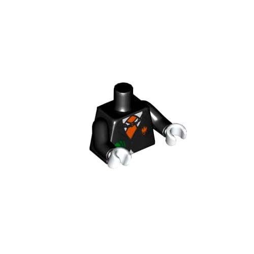 레고 부품 피규어 상체 토르소 검정색 Black Torso Agents Villain Suit with Orange Tie and Cash in Pocket, Dollar Sign on Back Pattern / Black Arms / White Hands 4552464