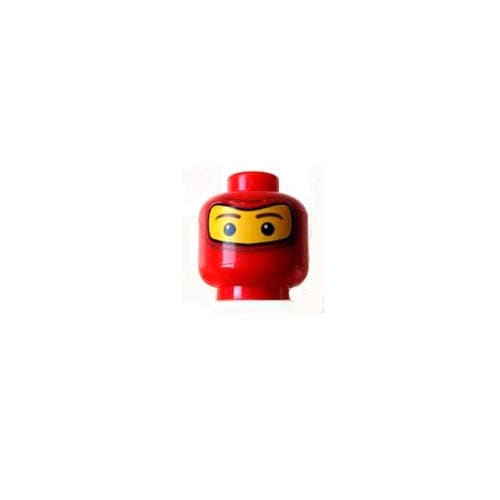 레고 부품 피규어 머리 빨간색 Red Minifigure, Head Balaclava with Brown Eyebrows, White Spot in Eyes Pattern 4230891