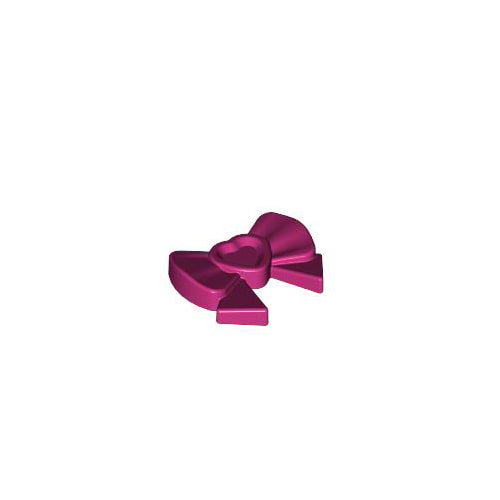레고 부품 악세사리 리본 핀 자홍색 Magenta Friends Accessories Hair Decoration, Bow with Heart, Long Ribbon and Pin 6023827