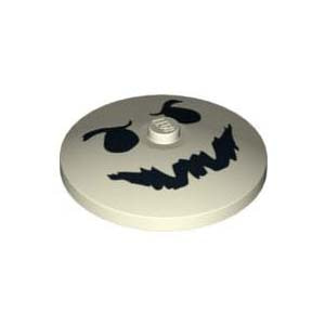 레고 부품 프린팅 접시 모양 야광 Glow In Dark White Dish 4 x 4 Inverted (Radar) with Black Ghost Face Pattern 6009474