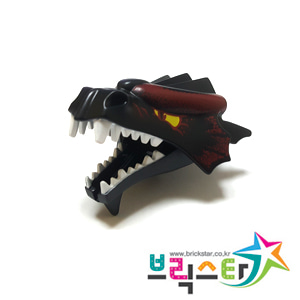 레고 부품 드래곤 머리 검정색 Black Dragon Head (Fantasy Era / Castle) Lower Jaw with White Teeth Pattern