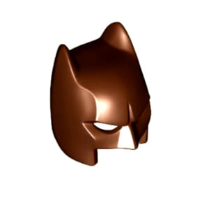 레고 부품 배트맨 복면 마스크 적갈색 Reddish Brown Minifigure, Headgear Mask Batman Type 3 Cowl (Open Chin)