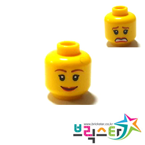 레고 부품 피규어 머리 여성 양면 얼굴 Yellow Minifigure, Head Dual Sided Female Brown Eyebrows, Scared / Smile Pattern - Blocked Open Stud