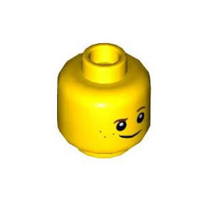 레고 부품 피규어 머리 씨익 웃는 얼굴 Yellow Minifigure, Head Brown Eyebrows, Raised Left Eyebrow, Freckles, White Pupils, Crooked Smile Pattern 6125384