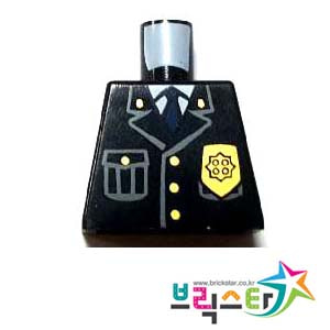 레고 부품 피규어 상체 토르소 경찰 제복 Black Torso Police Jacket with Pocket, Gold Badge and Blue Tie Pattern팔 없는 몸통