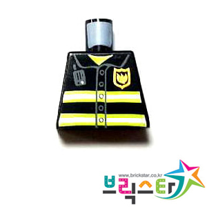레고 부품 피규어 상체 토르소 소방관 Black Torso Fire Uniform Badge and Stripes Pattern with Radio팔 없는 몸통