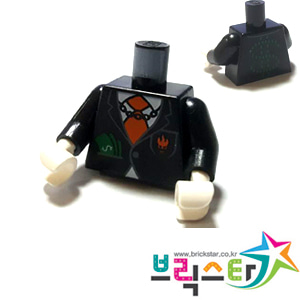 레고 부품 피규어 상체 토르소 달러 빌 Black Torso Agents Villain Suit with Orange Tie and Cash in Pocket, Dollar Sign on Back Pattern / Black Arms / White Hands 4552464
