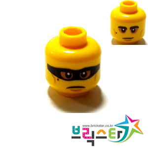 레고 부품 피규어 머리 양면 얼굴 Yellow Minifigure, Head Dual Sided Black Eyebrows and Mole, Medium Nougat Cheek Lines, Baggy Eyes / Frown with Black Mask Pattern - Hollow Stud 6287992
