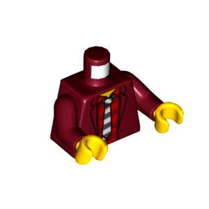 레고 부품 피규어 상체 토르소 자켓 다크 레드 Dark Red Torso Jacket with Red Striped Undershirt and Black and hite Tie Pattern / Dark Red Arms / Yellow Hands 6290507
