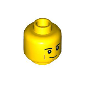 레고 부품 피규어 머리 살짝 웃는 얼굴 Yellow Minifigure, Head Black Eyebrows, White Pupils, Cheek Lines, Smirk Pattern - Hollow Stud 6283875