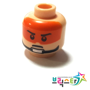 레고 부품 피규어 머리 스타워즈 저항군 파일럿 살색 얼굴 Light Flesh Minifigure, Head Male Stern Black Eyebrows, Pupils and Orange Visor Pattern - Blocked Open Stud