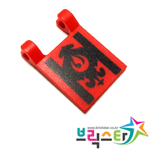 레고 부품 빨간색 사각 깃발 프린팅 Red Flag 2 x 2 Square with Black Lines and Fancy Scroll Pattern