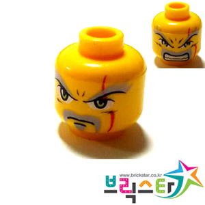 레고 부품 피규어 머리 케이켄 양면 얼굴 Yellow Minifigure, Head Dual Sided Exo-Force Dark Gray Moustache, Eyebrows, Thin Scar and Closed Mouth / Bared Teeth Pattern (Keiken)