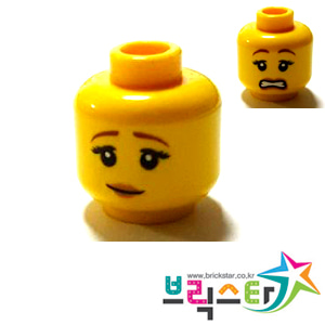 레고 부품 피규어 머리 여성 양면 얼굴 Yellow Minifigure, Head Dual Sided Female Brown Eyebrows, Peach Lips, Pensive Smile / Scared Pattern