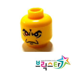 레고 부품 피규어 머리 한 쪽 빨간 눈 주름진 얼굴 Yellow Minifigure, Head Male Angry Eyebrows and 1 Red Eye, White Pupils Pattern