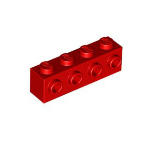 레고 부품 변형 브릭 빨간색 Red Brick Modified 1 x 4with 4 Studs on One Side 4157223